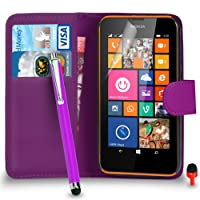 Nokia Lumia 635 Premium Leather Dark Purple Wallet Flip Case Cover Pouch + Big Touch Stylus Pen + RED 2 IN 1 Dust Stopper + Screen Protector & Polishing Cloth SVL2 BY SHUKAN®, (WALLET DARK PURPLE)