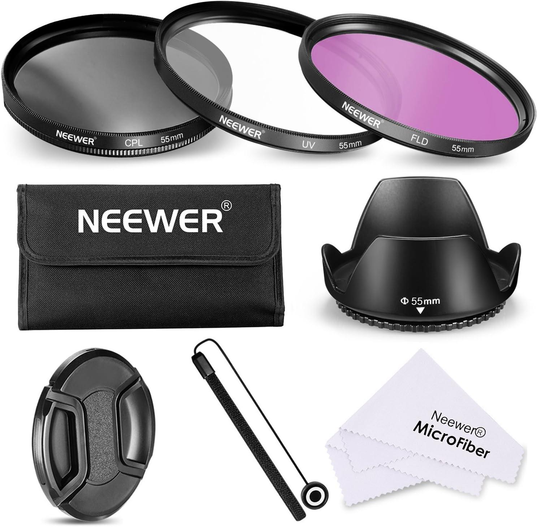 Neewer Filtro de 55 mm de la Lente Kit de Accesorios para Canon Nikon Sony Samsung Fujifilm Pentax: UV/CPL/FLD Filtro, la Bolsa, la Capilla de Lente, Tapa del Objetivo, paño de Limpieza