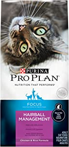 Purina Pro Plan Hairball Dry Cat Food, FOCUS Hairball Management Chicken & Rice Formula - 3.5 lb. Bag