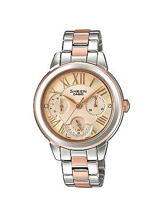 CASIO Reloj Analógico para Mujer de Cuarzo con Correa en Acero Inoxidable SHE-3059SPG-9AUER: Amazon.es: Relojes