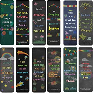 Creanoso Colorful Motivational Positive Encouragement Bookmarks Cards (30-Pack) - Assorted Designs for Kids - Classroom Reward Incentives for Students - Stocking Stuffers Party Favors & Giveaways