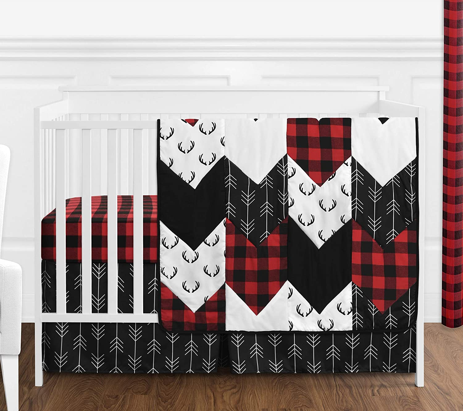 Sweet Jojo Designs Woodland Buffalo Plaid Baby Boy Nursery Crib Bedding Set - 4 Pieces - Red and Black Rustic Country Deer Lumberjack Arrow