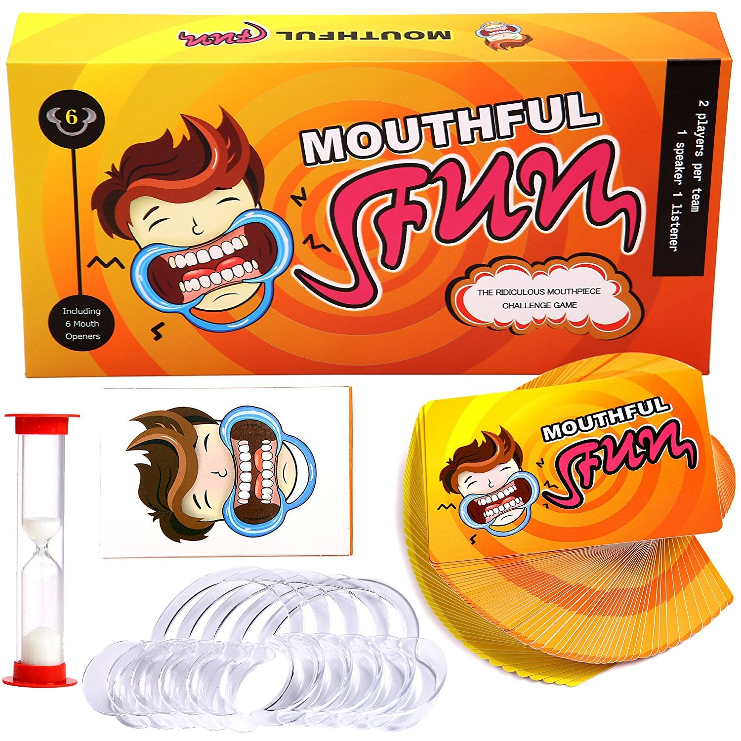 Mouthful Fun Card Game - Original Hilarious Lipless MouthGuard Challenge Board Game Party and Family Friendly Pack for Kids and Adults