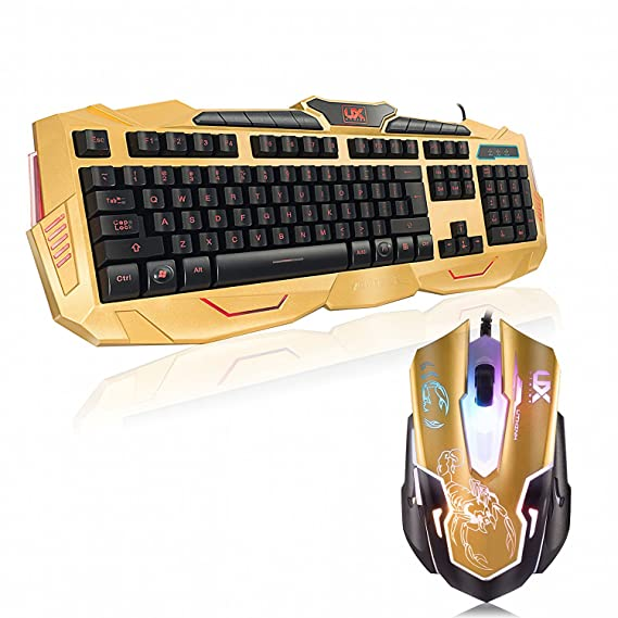 Amazon.com: Gaming Keyboard and Mouse - USB Backlit Keyboard and DPI Governor - Spill Resistant - Gold: Computers & Accessories