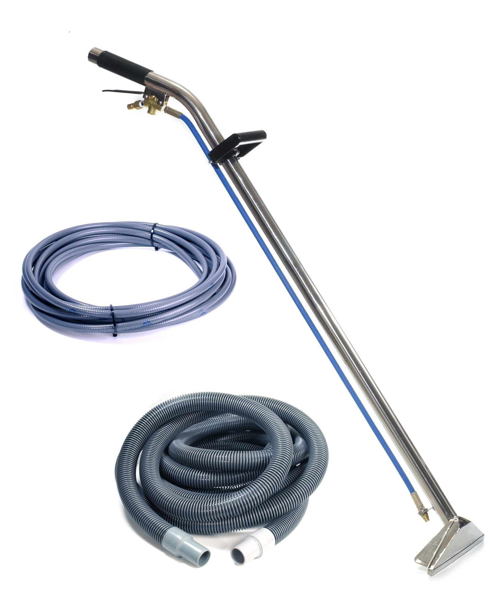 Sandia 80-8009-A Stainless Steel Single Jet 12'' Single Bend Wand with 15' Vacuum and Solution Hoses