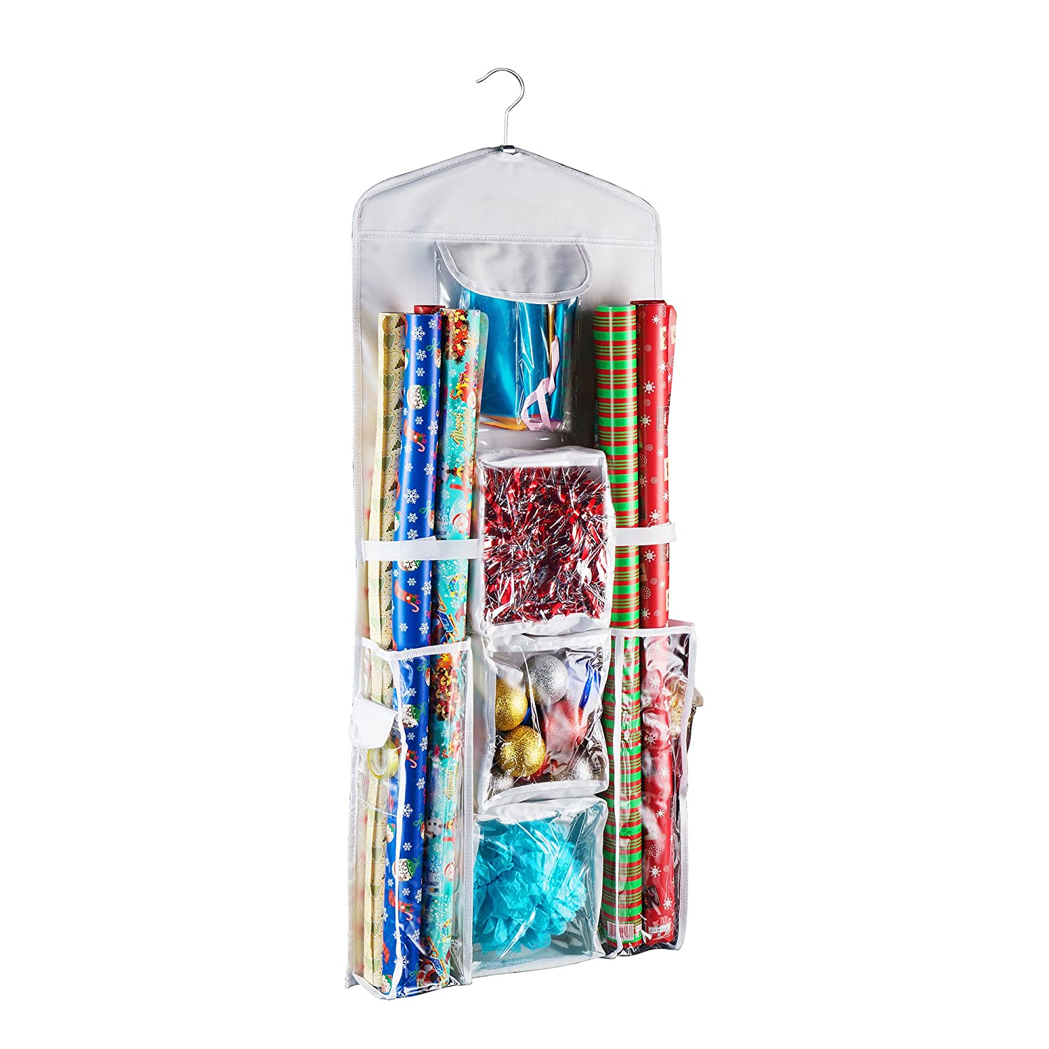 Hanging Wrapping Paper and Gift Bag Organizer Birthday Ribbons Stores it All Bows and More White Trademark Wedding and Holidays Elf Stor 83-DT5152 Double Sided
