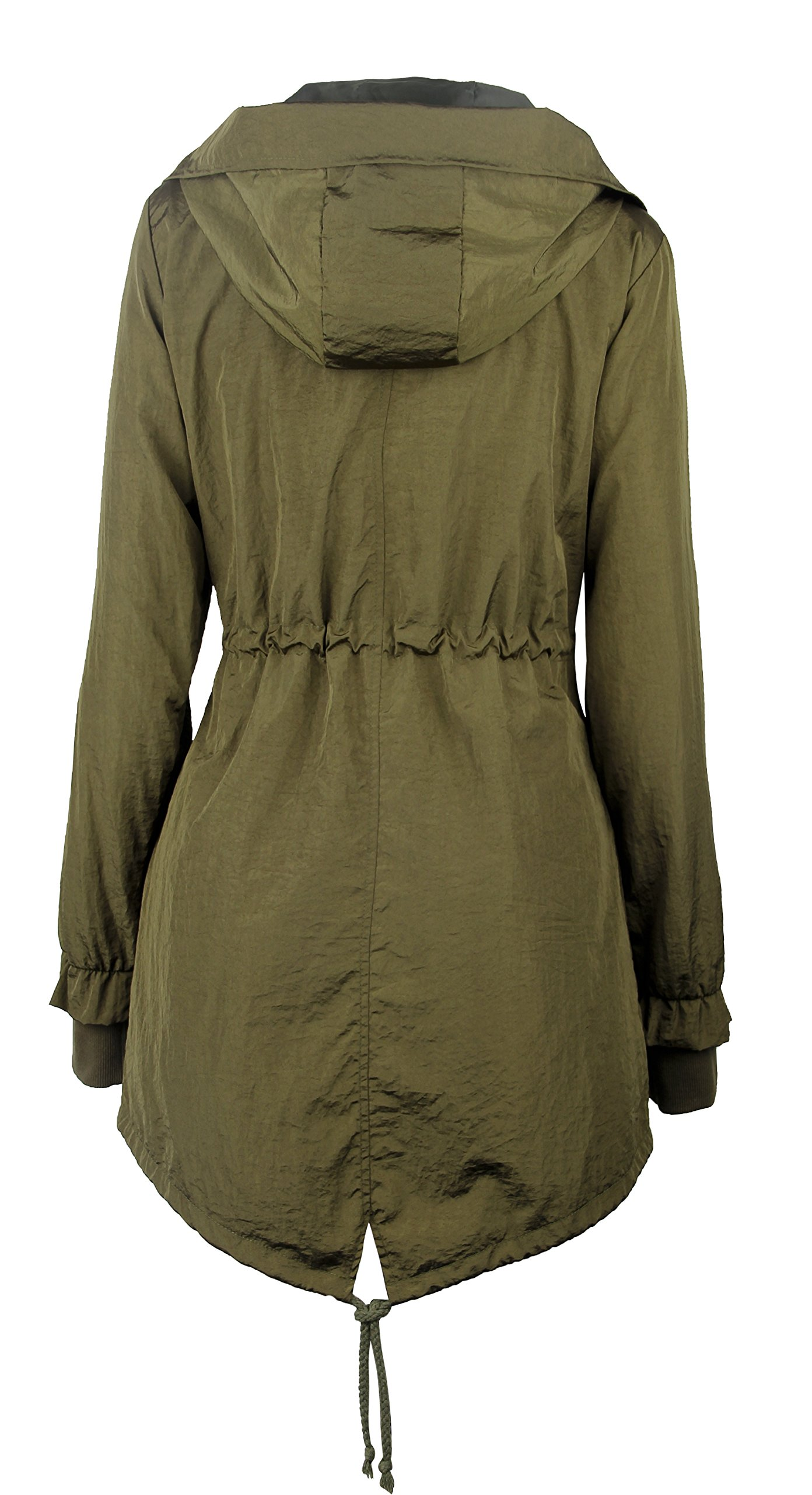 iLoveSIA Women's Military Trench rain Jacket with Hood Jacket Arm Green US 12 by iLoveSIA (Image #2)