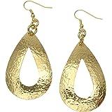 Hammered Nu Gold Brass Open Tear Drop Earrings By John S Brana Handmade Jewelry Brass Earrings