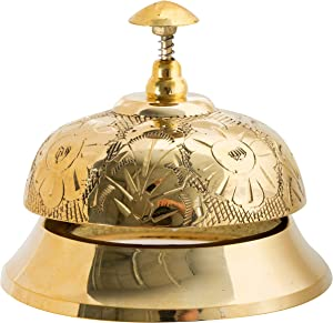 Polished Brass Victorian Ornate Floral Pattern Engraved Desk Call Bell