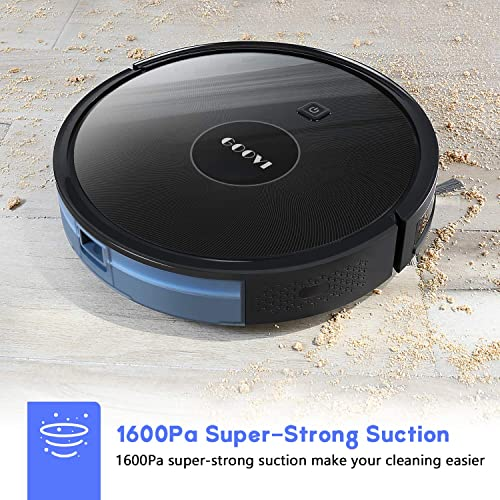 Robot Vacuum, GOOVI 1600PA Robotic Vacuum Cleaner with Self-Charging, 360 Smart Sensor Protectio, Multiple Cleaning Modes Vacuum Best for Pet Hairs, Hard Floor Medium Carpet