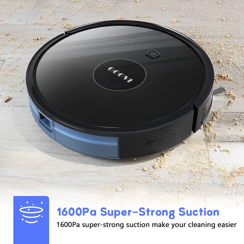 Quiet Multiple Cleaning Modes GOOVI Robot Vacuum for Pet Hair Hard Floor Robotic Vacuum Cleaner Slim Strong Suction Self-Charging Vacuum Medium-Pile Carpets