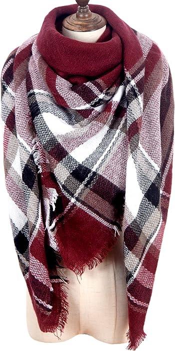 MissShorthair Women s Plaid Blanket Scarf Big Tartan Scarf Neck Warmer for  Winter 575e7fc6d30