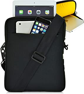 """product image for Turtleback Tablet Bag for iPad Pro and Other Tablets with Shoulder Strap Pouch Bag for Universal Tablets - Fits Devices up to 10.5"""" Inch with Cases - (Black/Yellow), Made in USA"""