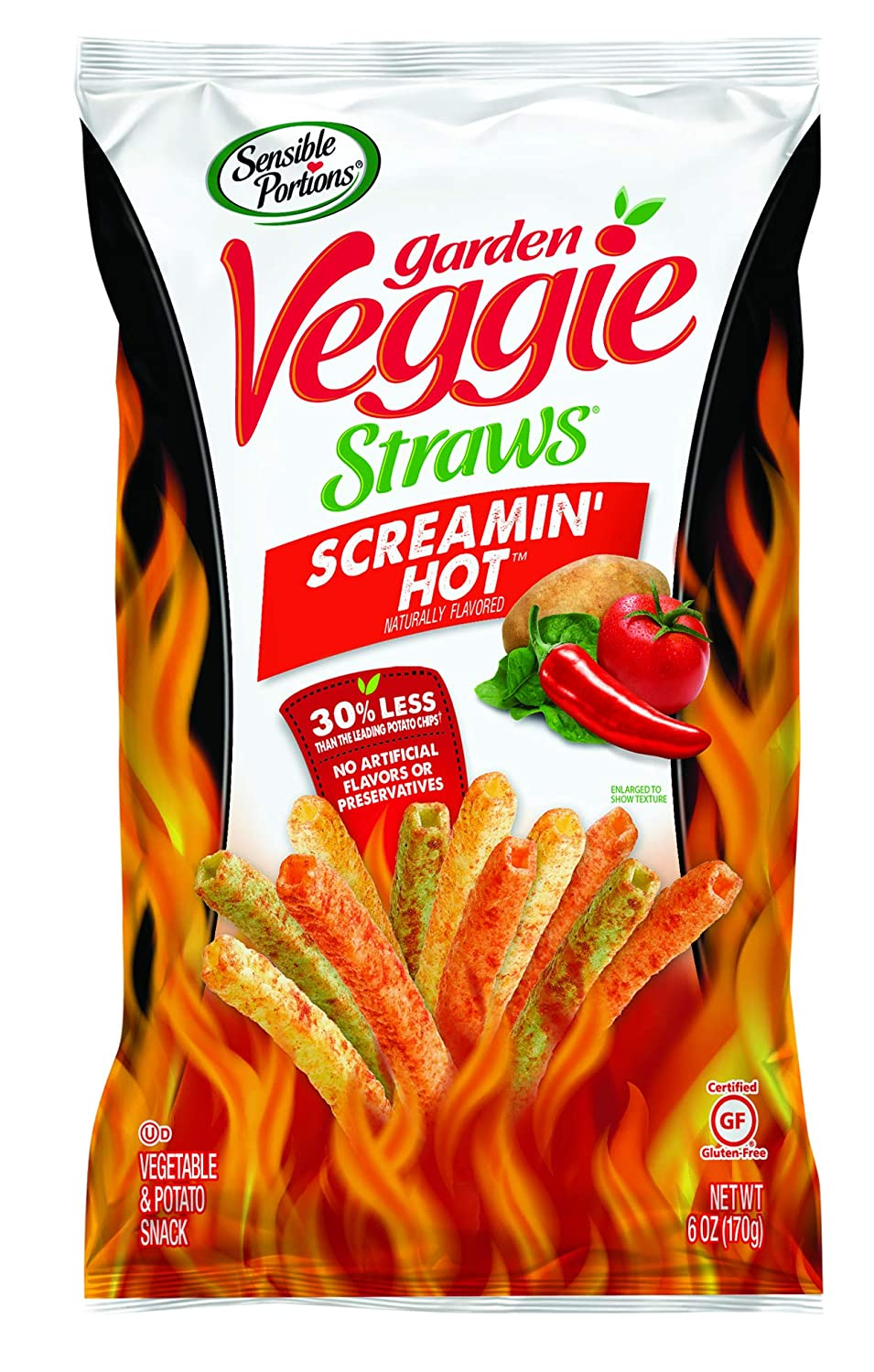Sensible Portions Garden Veggie Straws Screamin' Hot, 6 Oz (Pack of 6)