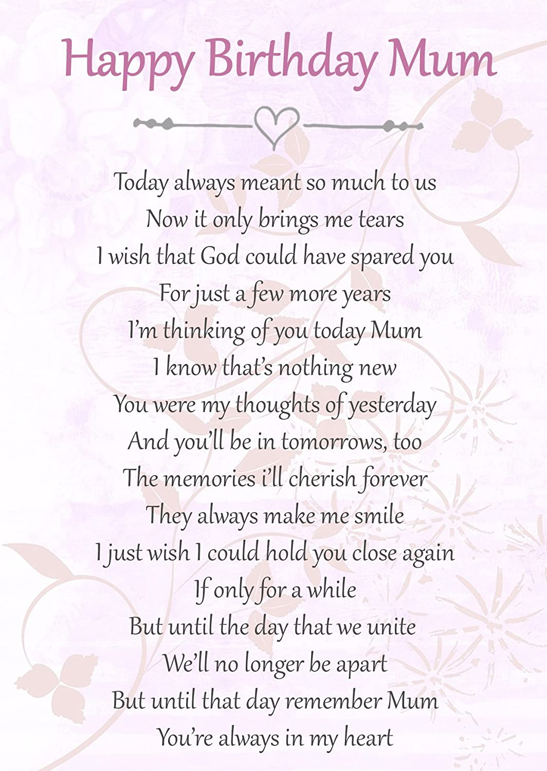 Happy Birthday Mum Memorial Graveside Poem Keepsake Card Includes Free Ground Stake F66 Amazoncouk Kitchen Home