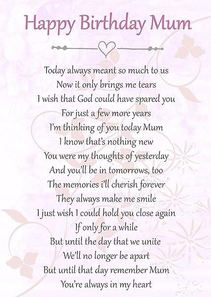 Happy Birthday Mum Memorial Graveside Poem Keepsake Card Includes Free Ground Stake F66 Amazoncouk Kitchen Home