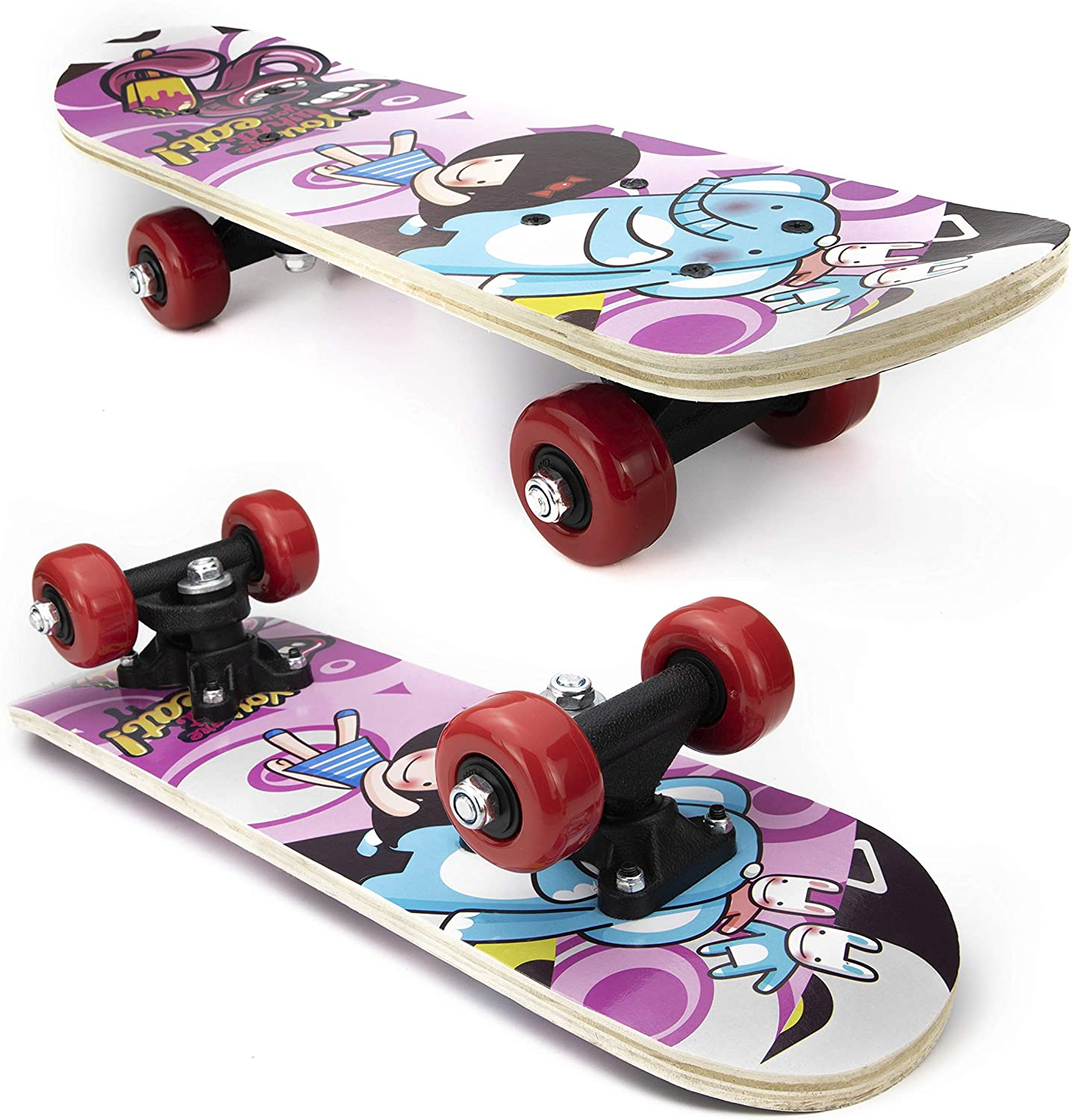 Complete Skateboards for Beginners Boys Girls Kids Youth 7 Lays Maple Deck