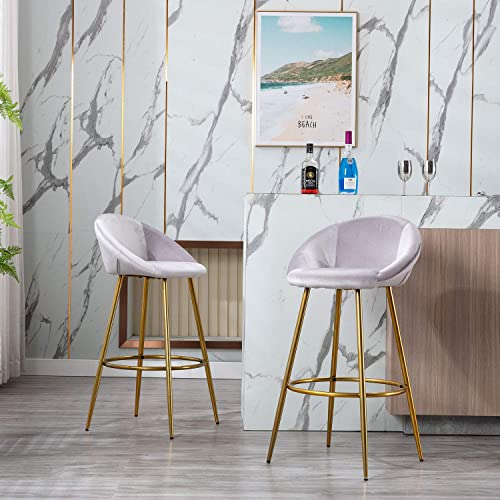 Modern Velvet Bar Stools Set of 2