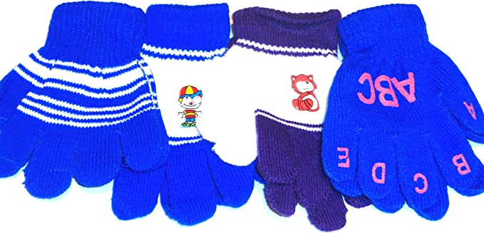 Four Pairs One Size Magic Gloves for Infants Toddlers Ages 1-4 Yrs