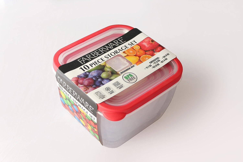 Farberware Plastic Square 'Vented' Nesting, Red (10 Piece) Food Storage Set