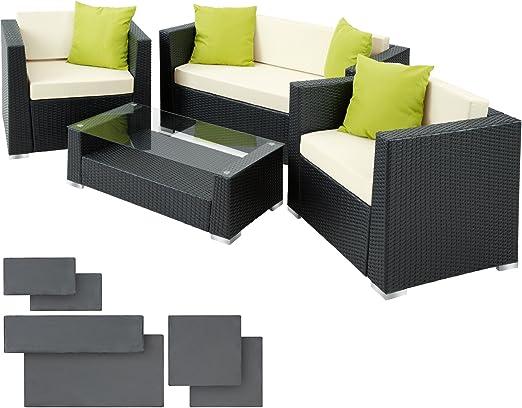 TecTake Salon de Jardin Résine Tressée Poly Rotin Aluminium + 4 oreillers  supplémentaires + 2 housses de coussin, vis en acier inoxydable - diverses  ...