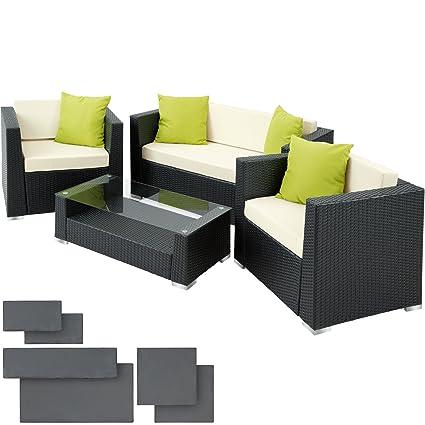 TecTake Salon de Jardin Résine Tressée Poly Rotin Aluminium + 4 oreillers  supplémentaires + 2 housses de coussin, vis en acier inoxydable - ...