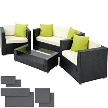 Tectake Luxury Rattan Aluminium Garden Furniture Sofa Set Outdoor Wicker With Glass Table Upholstery 4 Extra Pillows Stainless Steel Screws