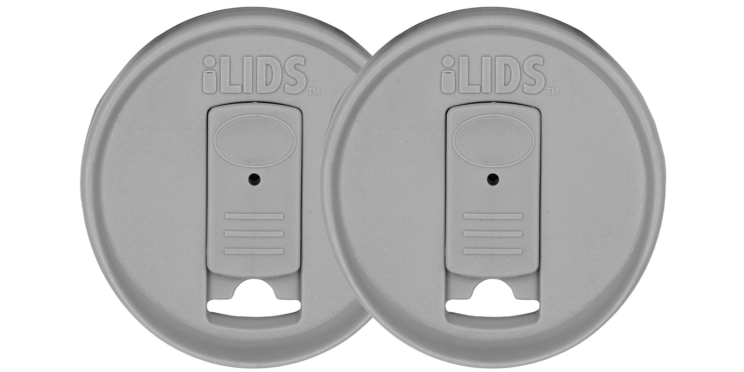 iLids Mason Jar Drink Lid, Regular Mouth, Gray, 2-Pack