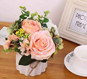 Ms Bloom Artificial Rose Bouquet with Small Ceramics Vase Silk Floral Arrangement Desk Decorations for Women Office Fake Flowers Decor for Home Table Centerpiece (Spring)