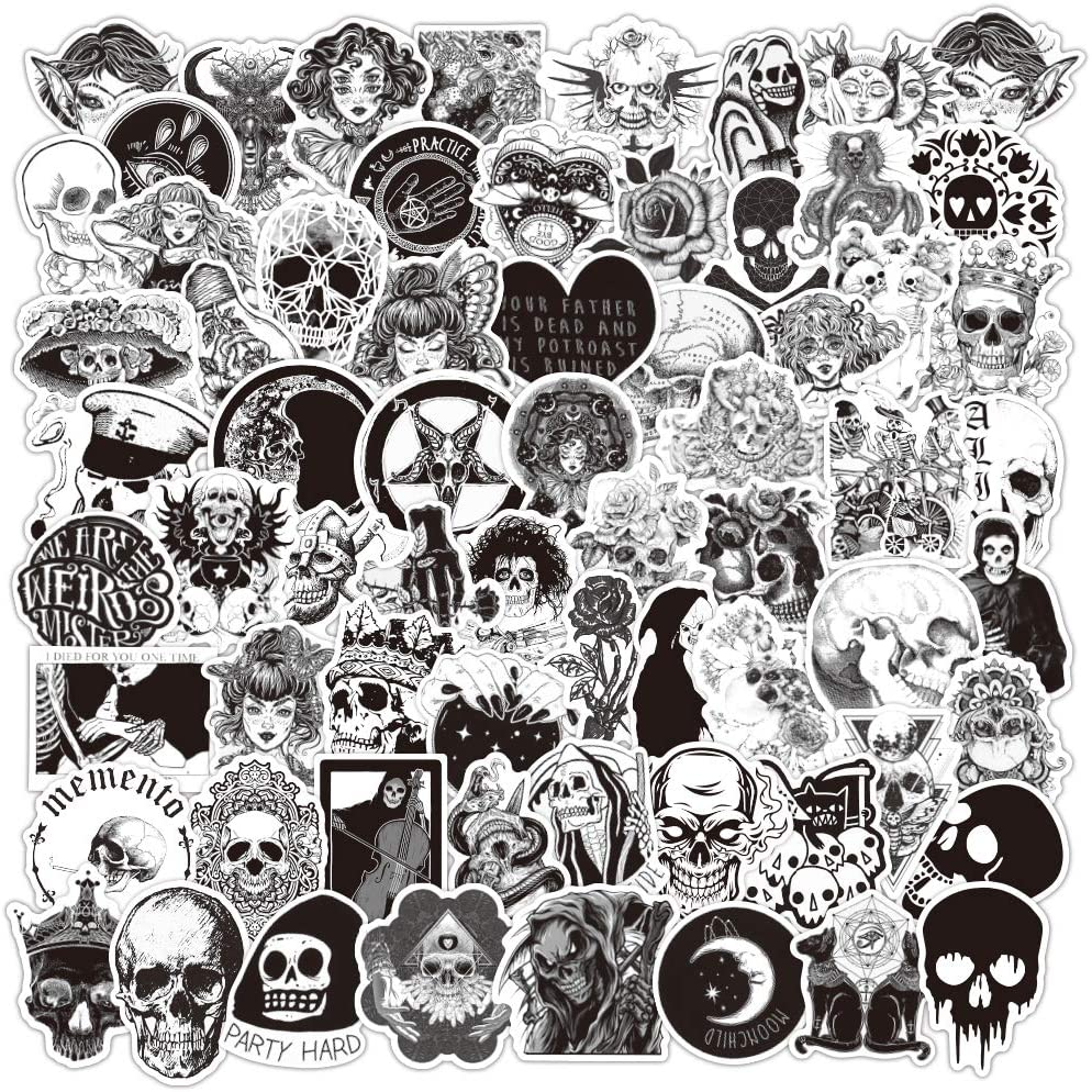 Gothic 50pc Stickers Lot Pack Skull Laptop Phone Mac Decal Waterproof Rock Bands