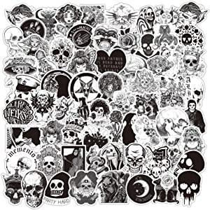 Gothic Stickers Pack, 100Pcs Satanic Stickers Waterproof Vinyl Skull Decals for Laptop, Skateboard, Water Bottle, Computer, Phone, Small Horror Goth Stickers for Adults, Black and White