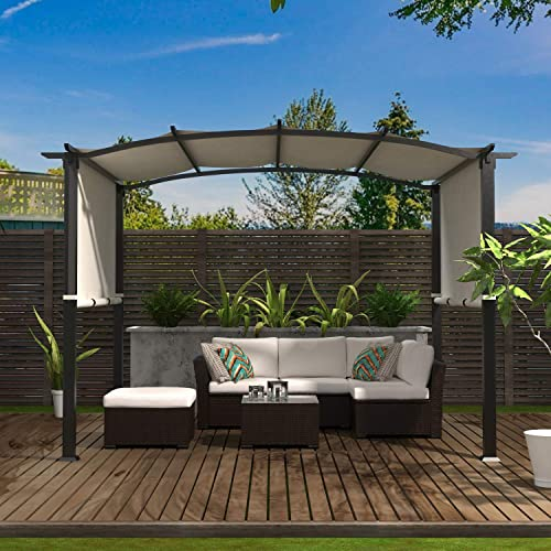 Cloud Mountain 8 x 10 Outdoor Pergola Patio Sun Shade Pergola Steel Pergola with Retactable Canopy for Garden Backyard, Beige