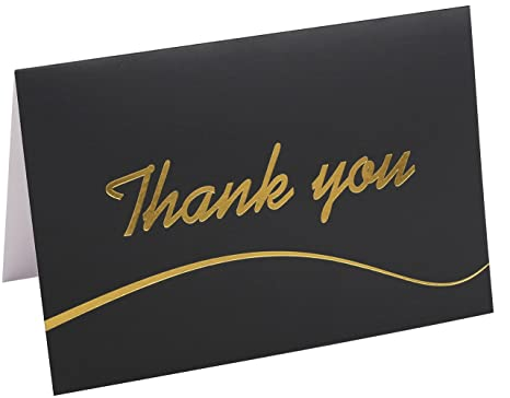 110 highest quality elegant thank you cards in black with envelopes and stickers bulk notes