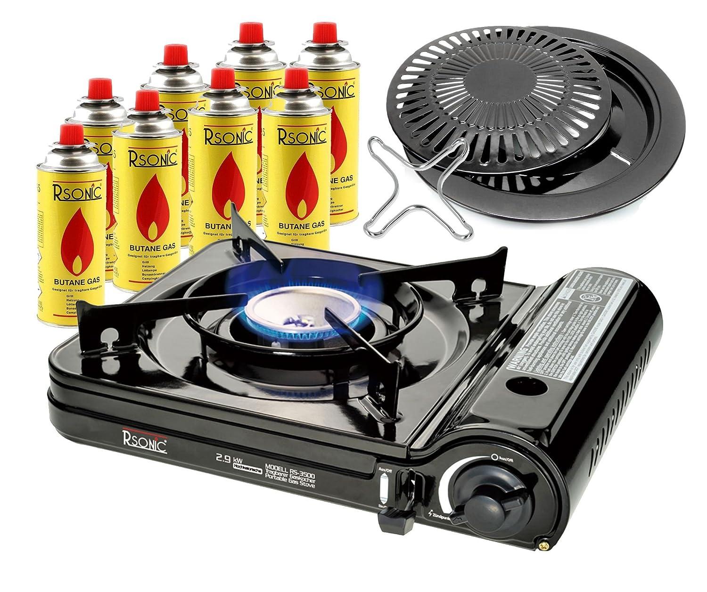 Portátil Turbo Estufa de camping 2,9 KW liso Cocina gas mit 8 Cartuchos + Bandeja del grill Accesorio parrilla + Fénix Ph-K01 la cruz 12x12 cm + ...