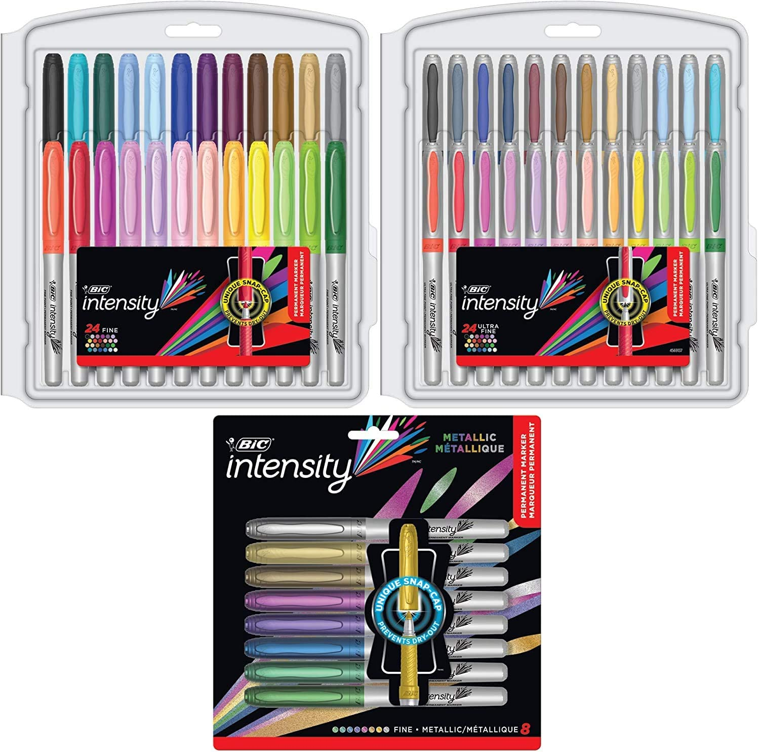 56-Count Intensity Permanent Marker Coloring Bundle Assorted Fine//Ultra Fine Tips Assorted Fashion and Metallic Colors