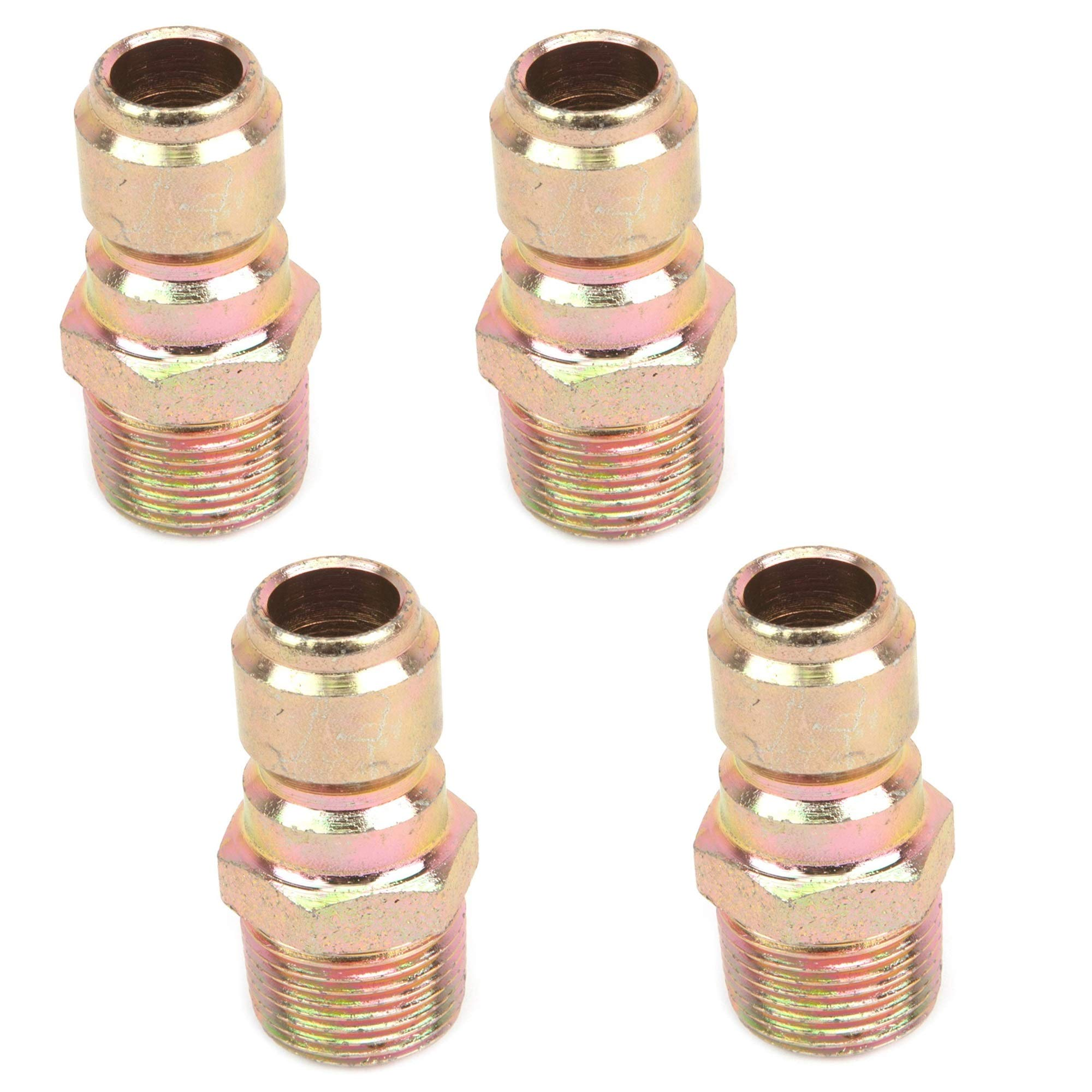 Forney 75136 Pressure Washer Accessories, Quick Coupler Plug, 3/8-Inch Male NPT, 4,200 PSI, 4 Pack by Forney