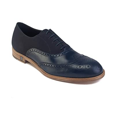 4dcfe3c3074035 Image Unavailable. Image not available for. Color  Versace Men s Leather  Lace-up Brogue Derby Dress Shoes Navy Blue