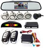 Universal 4 Car Parking Sensors Car Reverse auto assistance Backup Radar With TFT LED Screen Reverse Camera and Keyless entry systems SILVER