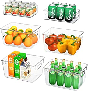 Huolewa Set Of 6 Clear Pantry Organizer Bins, 4 Large and 2 Small Refrigerator Storage Binswith Handles for Fridge, Freezer, Cabinet, Kitchen, Bathrooms, Bedrooms, BPA-Free