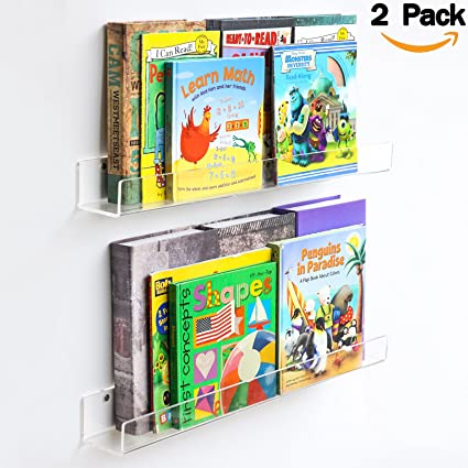 Bookshelves Images Amazon niubee acrylic invisible floating bookshelf 24 inch2 niubee acrylic invisible floating bookshelf 24 inch2 packkids clear wall bookshelves display sisterspd