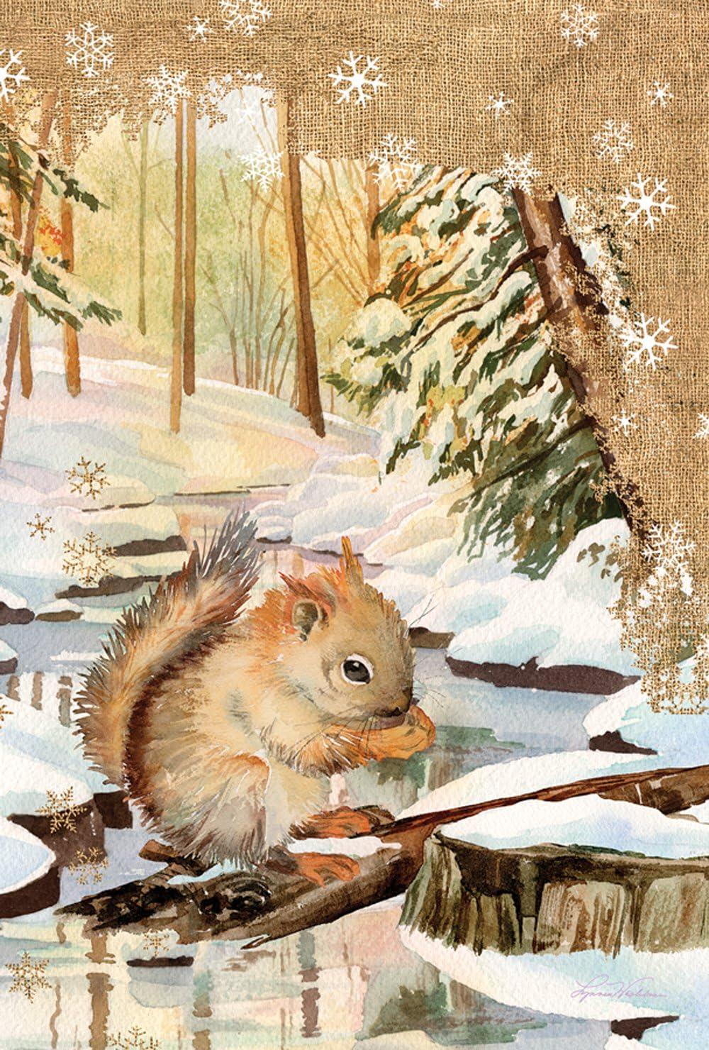 """Toland Home Garden 1010514 """"Snowy Squirrel Winter/Animals"""" Decorative House Flag, 28"""" x 40"""""""