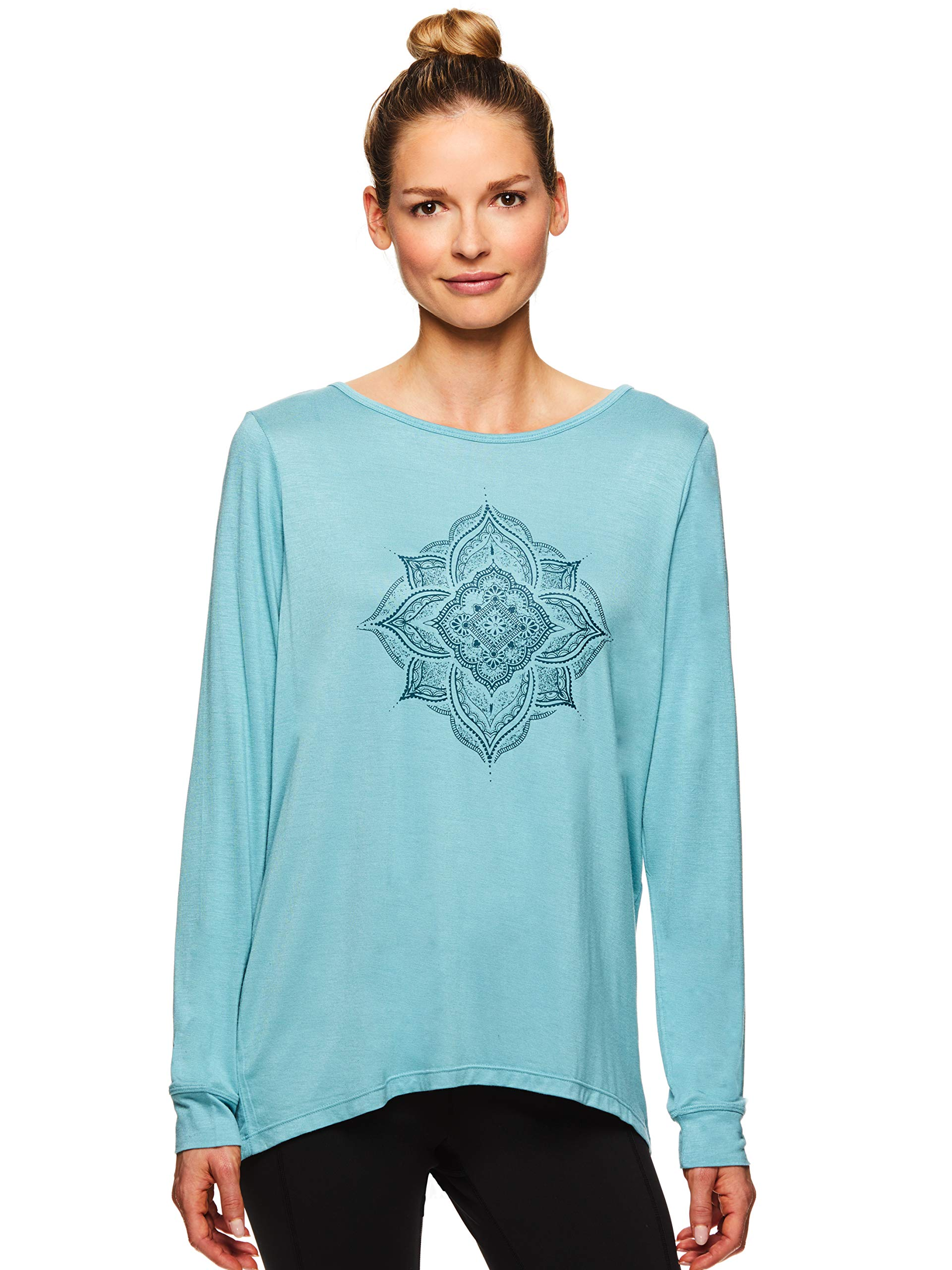 Gaiam Women's Long Sleeve Graphic Yoga T Shirt - Activewear Top w/Open Back - Hailey Cameo Blue, Medium by Gaiam