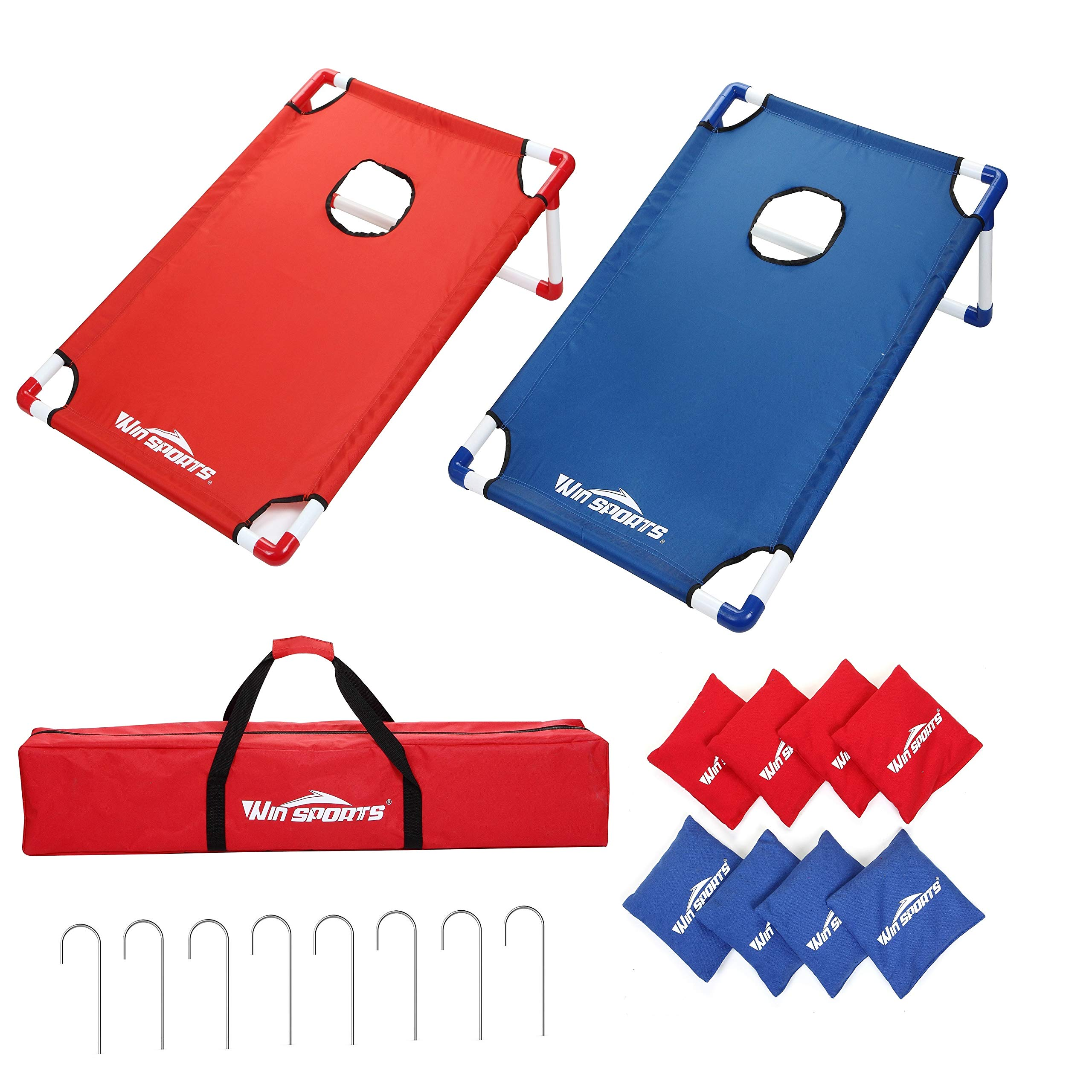 Win SPORTS Portable Assemble PVC Framed Cornhole Toss Game Set with 8 Bean Bags and Carrying Case(3 x 2-feet) - Choose Flag Design, Red & Blue (Red&Blue) by Win SPORTS