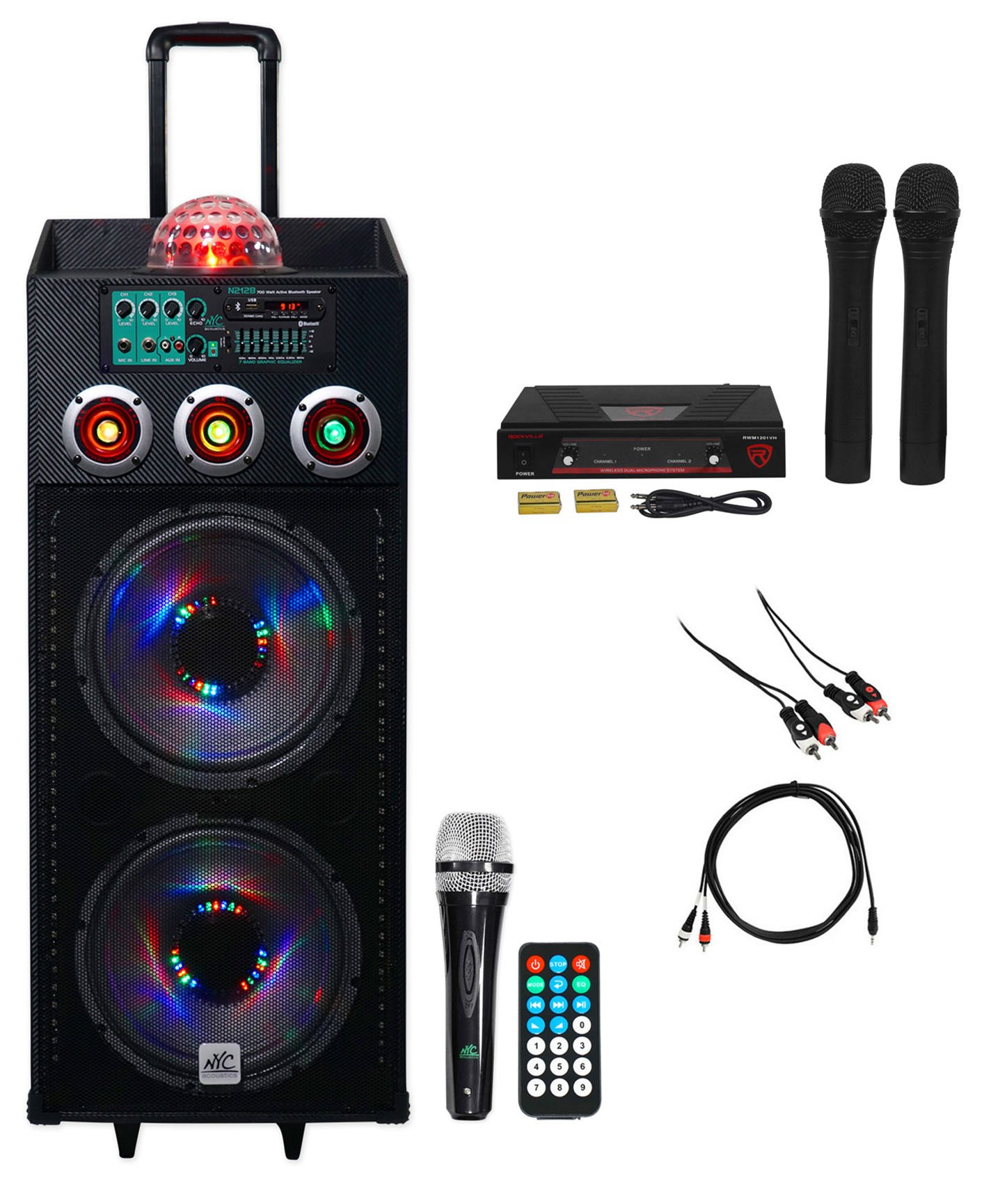 NYC Acoustics Dual 12'' Karaoke Machine/System 4 ipad/iphone/Android/Laptop/TV
