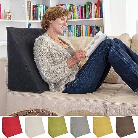 La Almohada Tipo Cuña increíble - para Su Sala De Estar o Su Recamara, Almohada para Leer con Un Sentado Relajado Diseño De Moda (Negro)