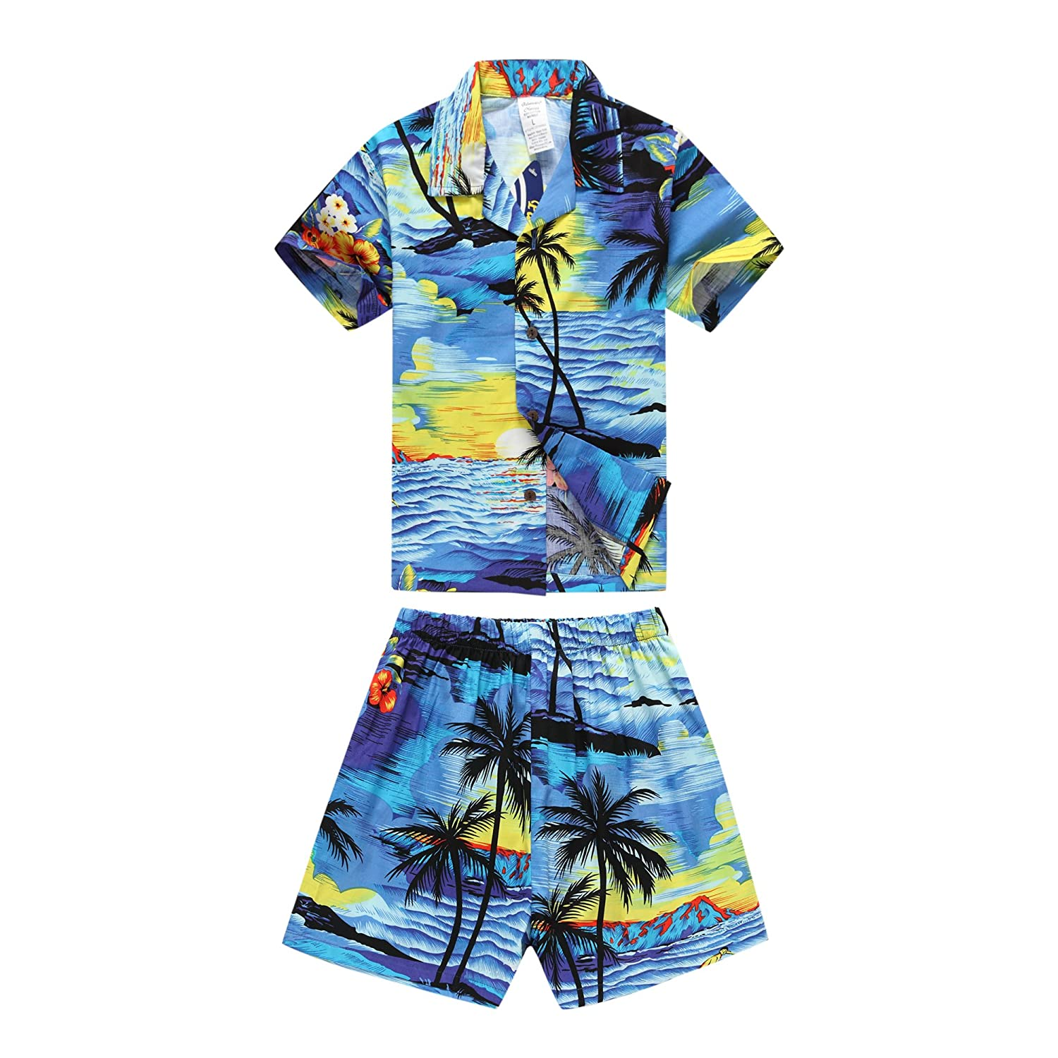 Boy Hawaiian Aloha Luau Shirt and Shorts 2 Piece Cabana Set in Red Sunset Palm Wave 049101