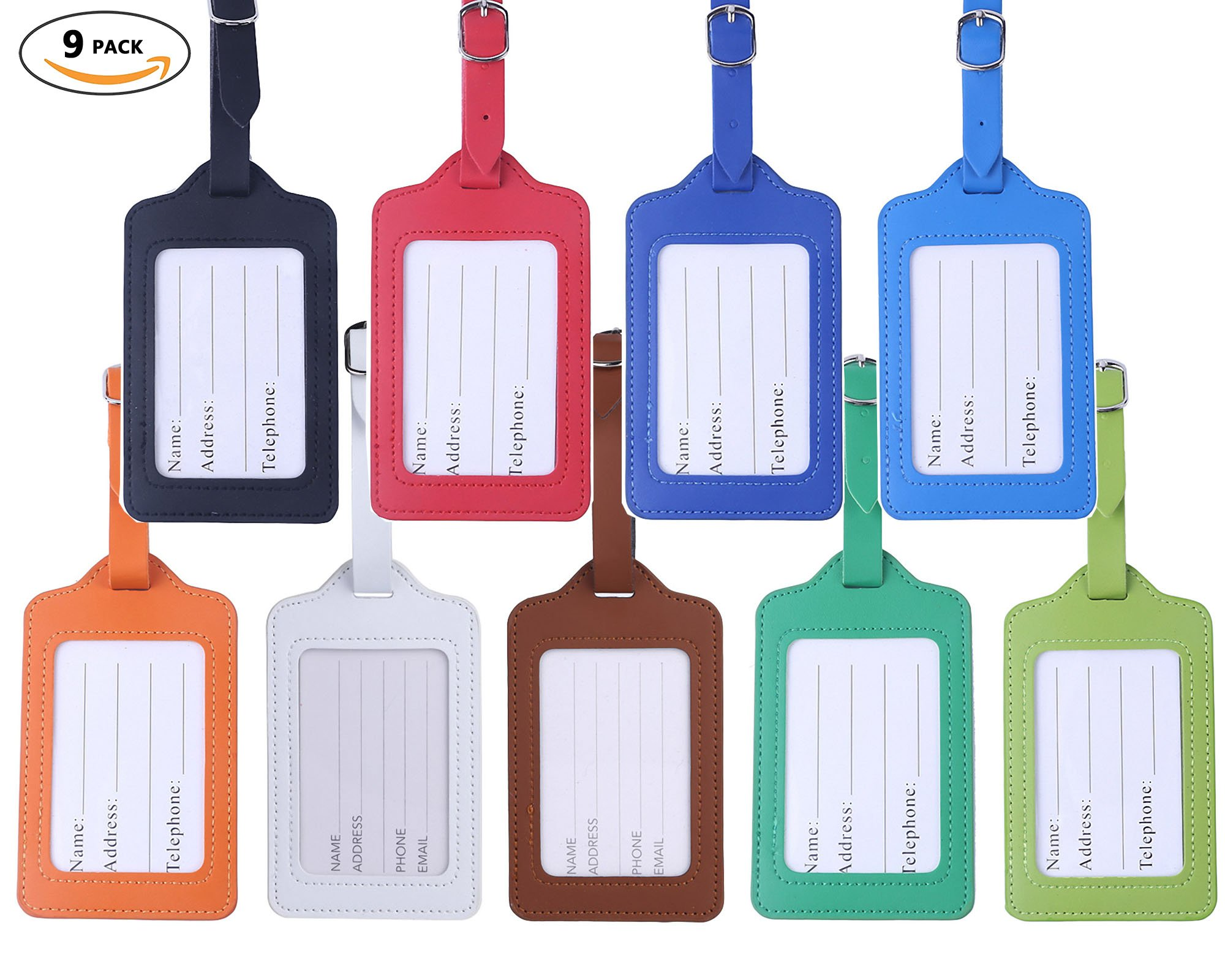Travel Luggage Tags - Bulk PU Cruise Baggage Tag Set - Identifiers Labels For Suitcases 9 Pack