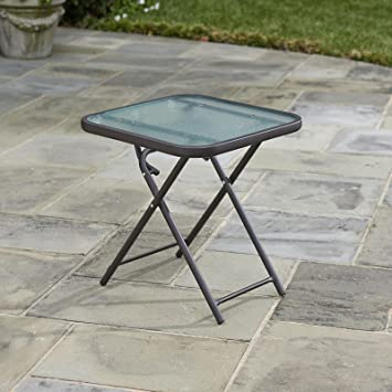 Amazon Com Folding Patio Side Table Brown Powder Coated