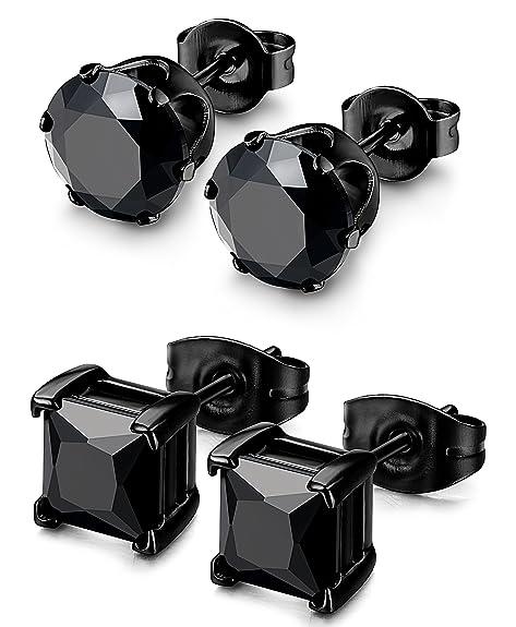 Besteel 2 Pairs Stainless Steel Mens Womens Cz Stud Earrings Pierced Earrings Black 20 G 3 8mm by Besteel