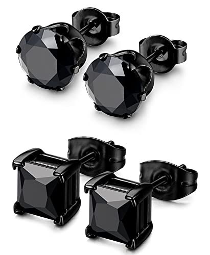8abb48dec7fcc Besteel 2 Pairs Stainless Steel Mens Womens CZ Stud Earrings Pierced  Earrings Black 20G 3-8mm
